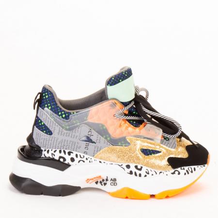 Pantofi sport dama aurii multicolor0