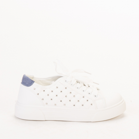 Pantofi sport dama Beki albi cu bleu0