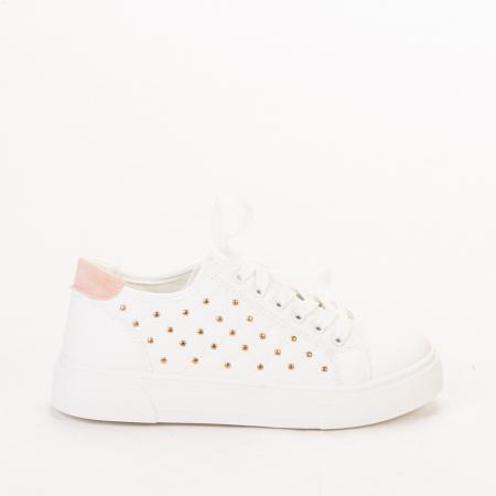 Pantofi sport dama Beki albi cu roz0