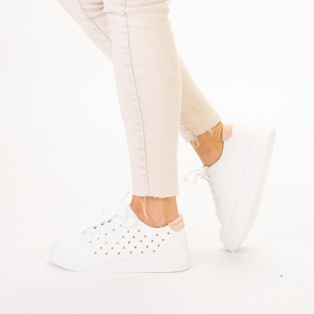 Pantofi sport dama Beki albi cu roz2