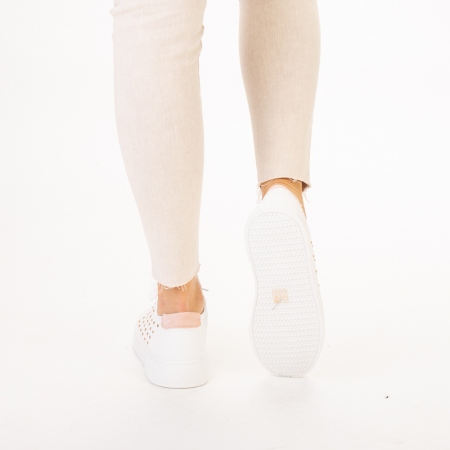 Pantofi sport dama Beki albi cu roz3