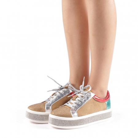 Pantofi sport dama Flavia camel1
