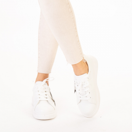 Pantofi sport dama Idona albi1
