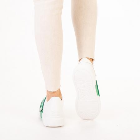 Pantofi sport dama Idona albi cu verde3