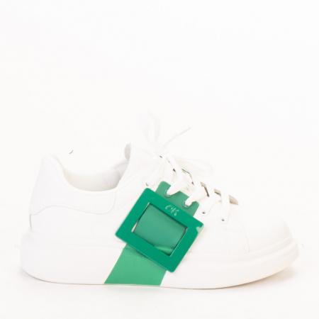 Pantofi sport dama Idona albi cu verde0