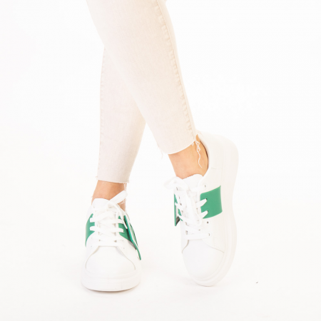 Pantofi sport dama Idona albi cu verde1