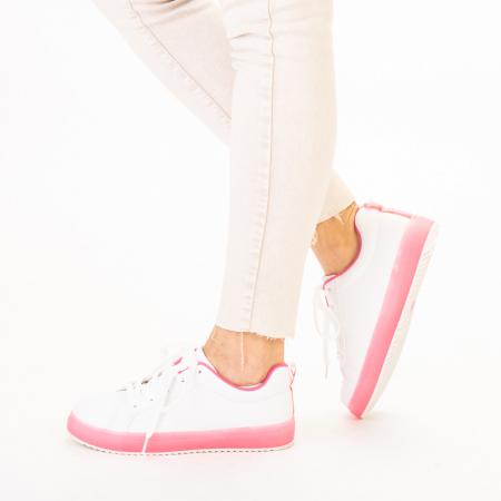 Pantofi sport dama Luela albi cu fucsia2