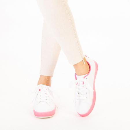 Pantofi sport dama Luela albi cu fucsia1