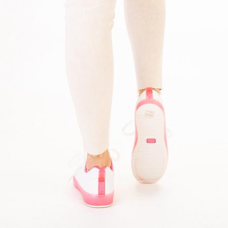 Pantofi sport dama Luela albi cu fucsia3