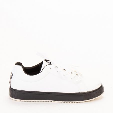 Pantofi sport dama Luela albi cu negru0