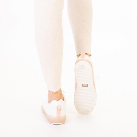 Pantofi sport dama Luela albi cu roz3