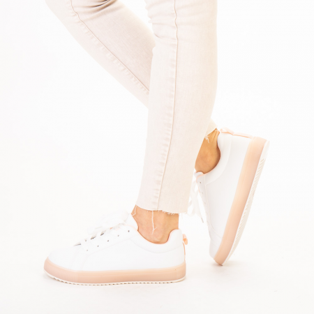 Pantofi sport dama Luela albi cu roz2