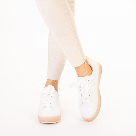 Pantofi sport dama Luela albi cu roz1