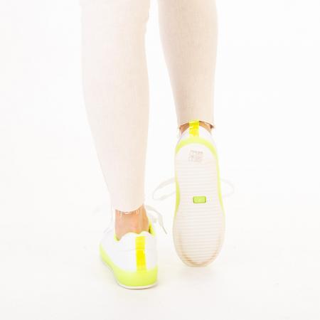 Pantofi sport dama Luela albi cu verde3