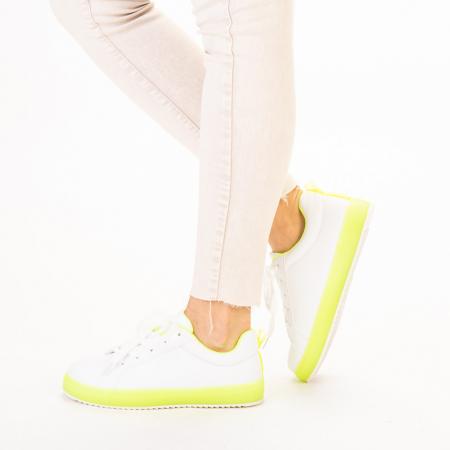 Pantofi sport dama Luela albi cu verde2