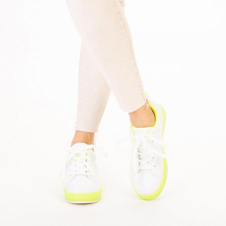 Pantofi sport dama Luela albi cu verde1