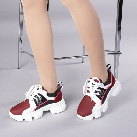 Pantofi sport dama Rane alb cu grena2