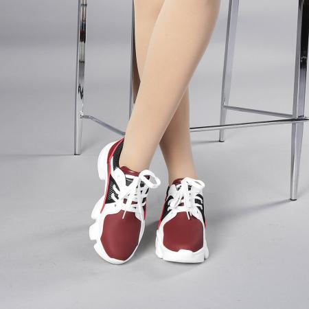 Pantofi sport dama Rane alb cu grena1