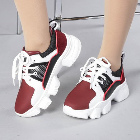 Pantofi sport dama Rane alb cu grena0