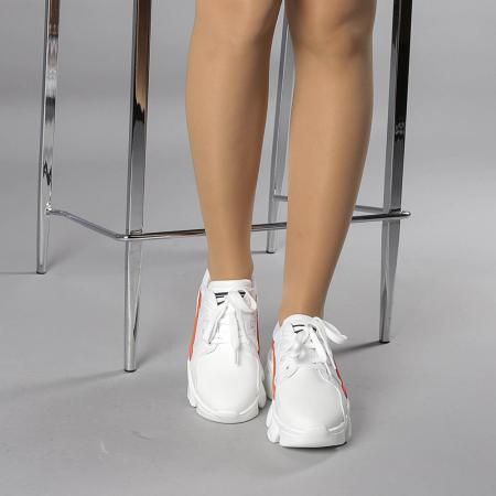 Pantofi sport dama Rane alb cu rosu1