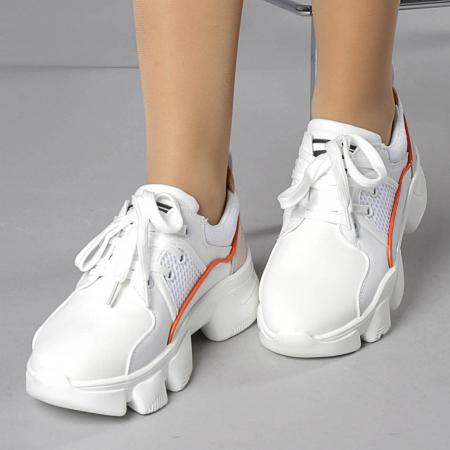 Pantofi sport dama Rane alb cu rosu0
