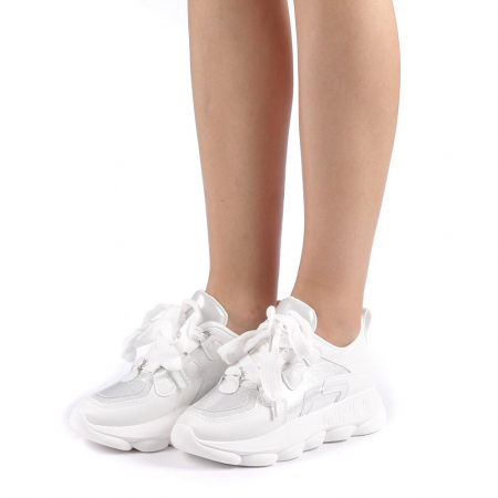 Pantofi sport dama Rika albi1