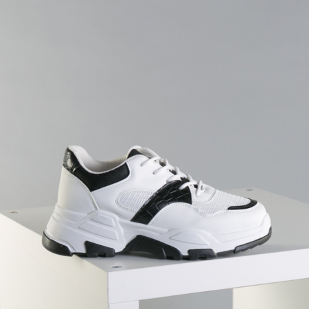 Pantofi sport dama Runy alb cu negru0