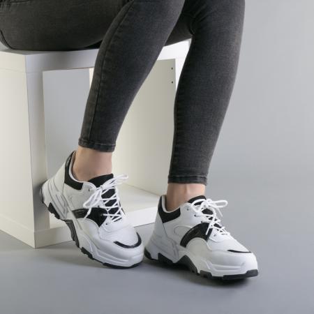 Pantofi sport dama Runy alb cu negru1