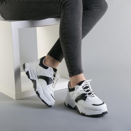 Pantofi sport dama Runy alb cu negru2