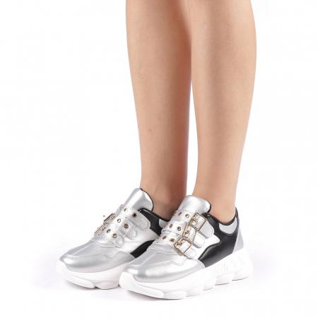 Pantofi sport dama Sandrina argintii1
