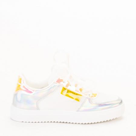 Pantofi sport dama Shena albi cu roz0