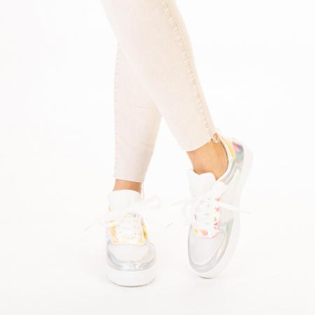 Pantofi sport dama Shena albi cu roz1