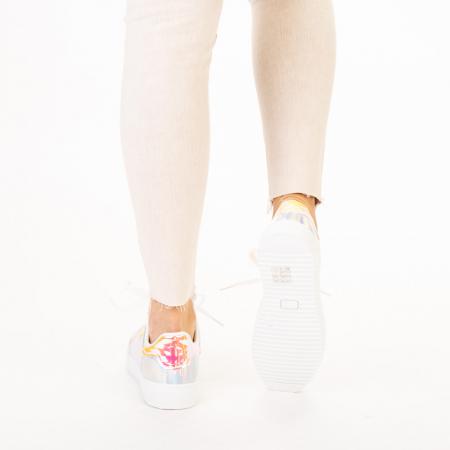 Pantofi sport dama Shena albi cu roz3