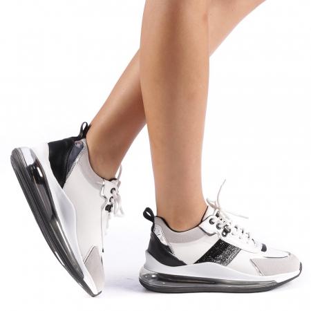 Pantofi sport dama Tamina alb cu negru0