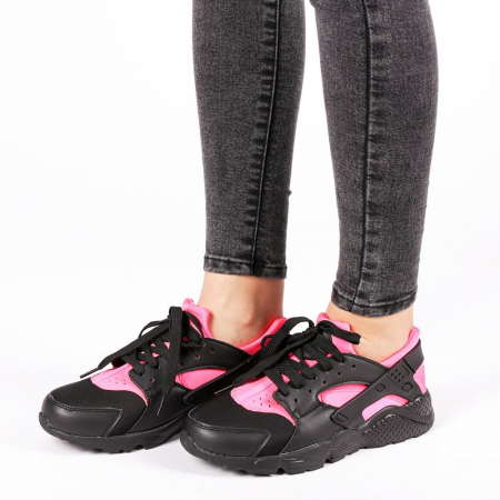 Pantofi sport dama Winifred negru cu roz1