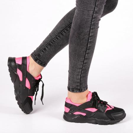 Pantofi sport dama Winifred negru cu roz0