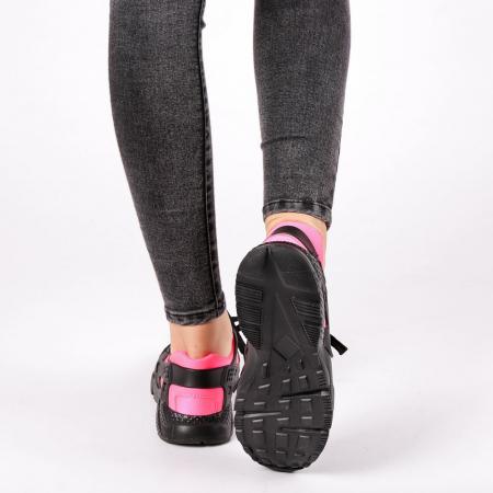Pantofi sport dama Winifred negru cu roz2