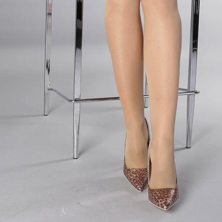 Pantofi stiletto Beatris sampanie1