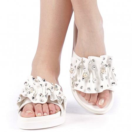 Papuci dama Cerine albi1
