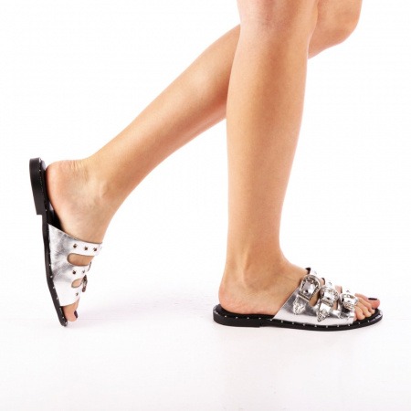 Papuci dama Edith argintii0
