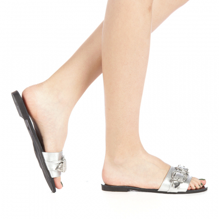Papuci dama Guncan argintii0