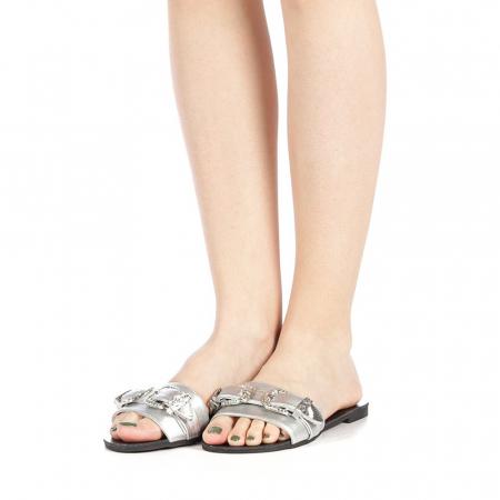 Papuci dama Guncan argintii2