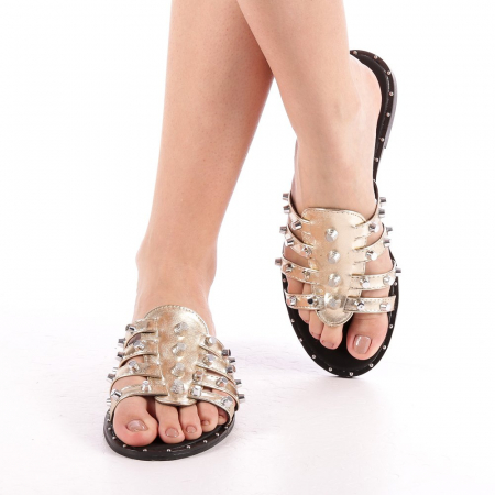 Papuci dama Iolanda aurii4