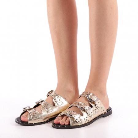 Papuci dama Luciana aurii1