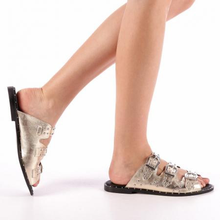 Papuci dama Luciana aurii0