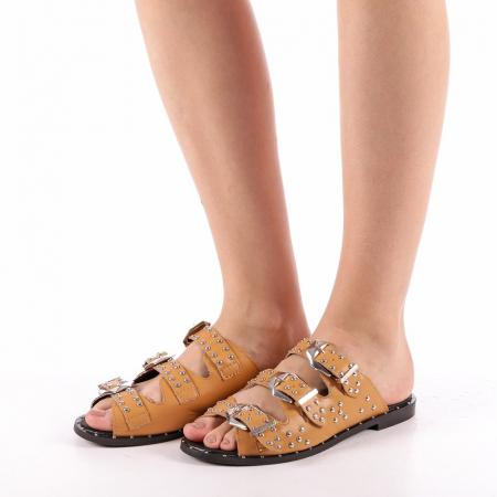 Papuci dama Luciana camel1