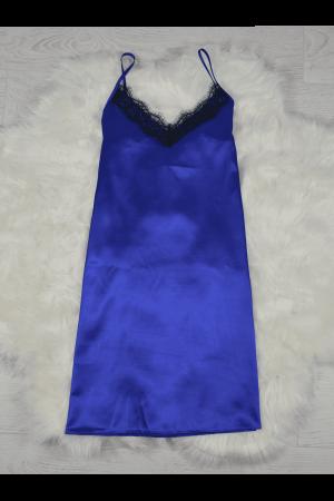 Pijama albastra din satin cu dantela set 5 piese [2]