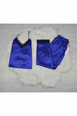 Pijama albastra din satin cu dantela set 5 piese [1]