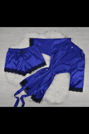 Pijama albastra din satin cu dantela set 5 piese