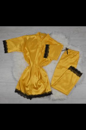 Pijama galbena din satin cu dantela set 5 piese